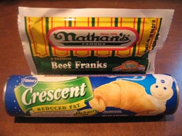 Photo of Nathan's Frankfruters and Pillsbury Crescents