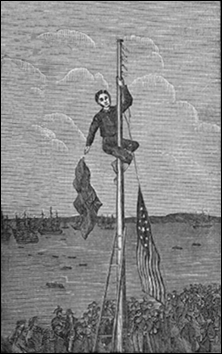Evacuation Day Illustration of John Van Arsdale Taking Down Flag in Battery Park