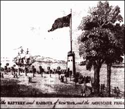 US Flag Flying in Battery Park in 1783 - Evacuation Day