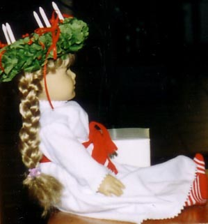 American Girl Doll dressed for Santa Lucia
