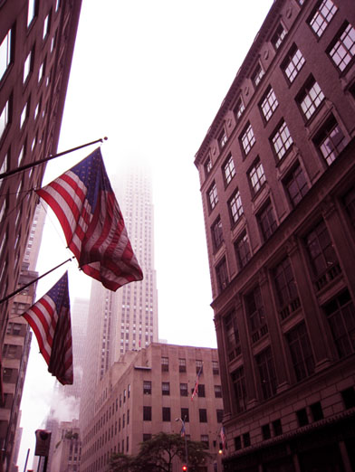 Photo of American Flags and The Empire State Building