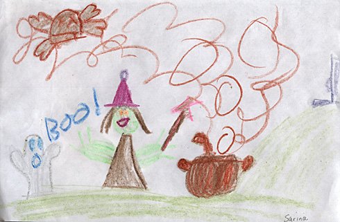 Kids Halloween Art - Witch
