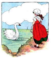 Illustration of Swan Nursery Rhyme from The Real Mother Goose