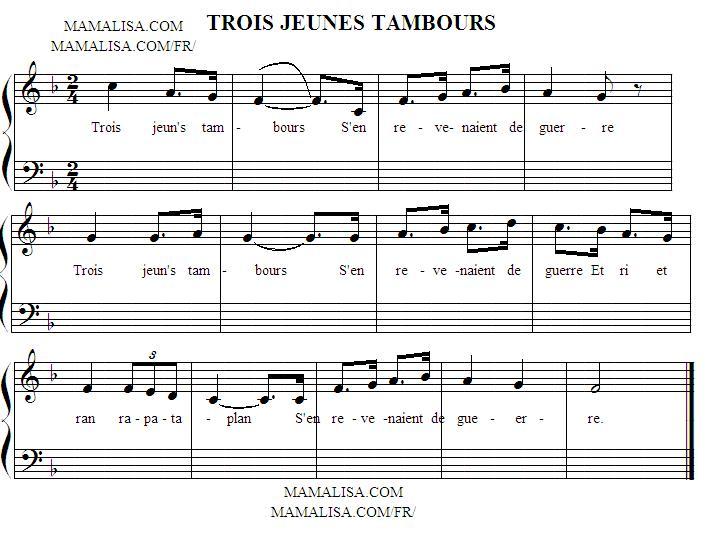 Partitura - Trois jeunes tambours
