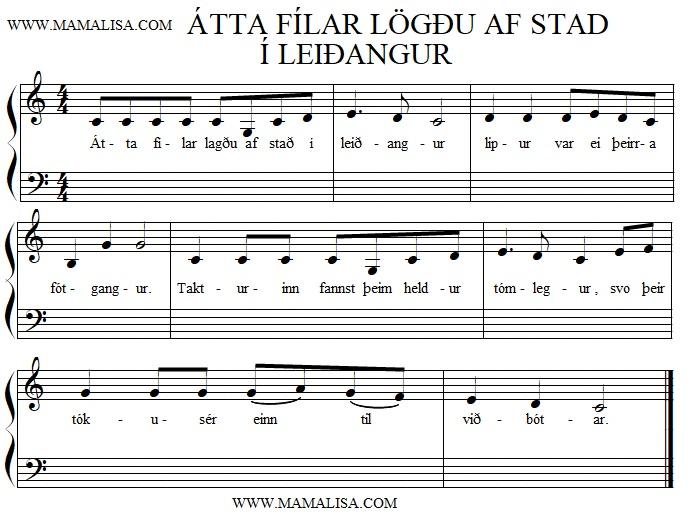 Partition musicale - Einn fíll lagði af stað í leiðangur