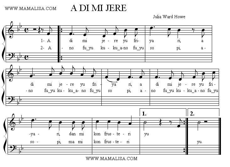 Sheet Music - A di mi yere yu friyari