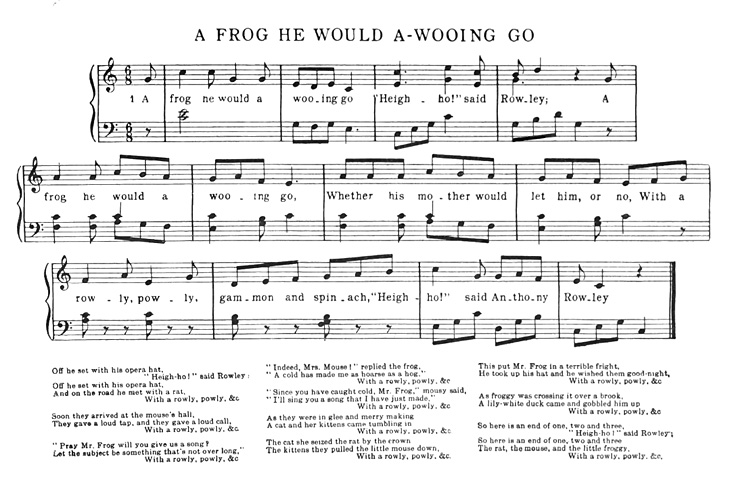 Sheet Music - A Frog He Would A-wooing Go