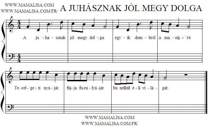 Partition musicale - A juhásznak jól megy dolga