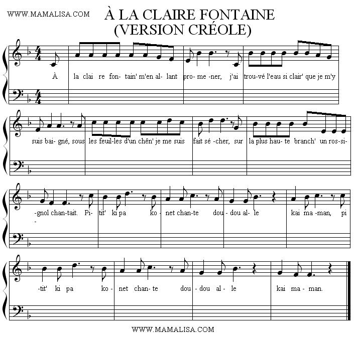 Partitura - À la claire fontaine (version créole)