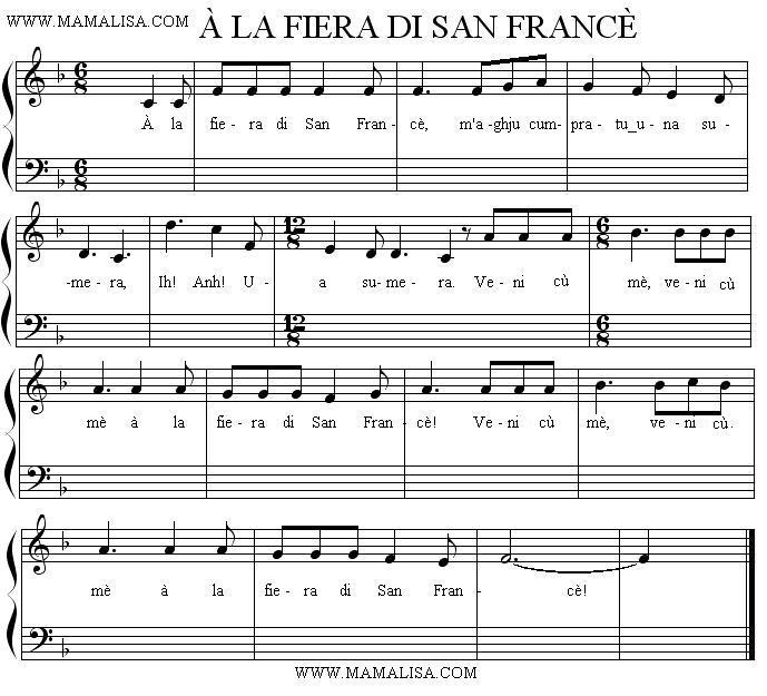 Partition musicale - À la fiera di San Francè
