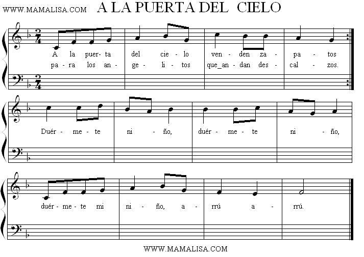 Partition musicale - A la puerta del cielo