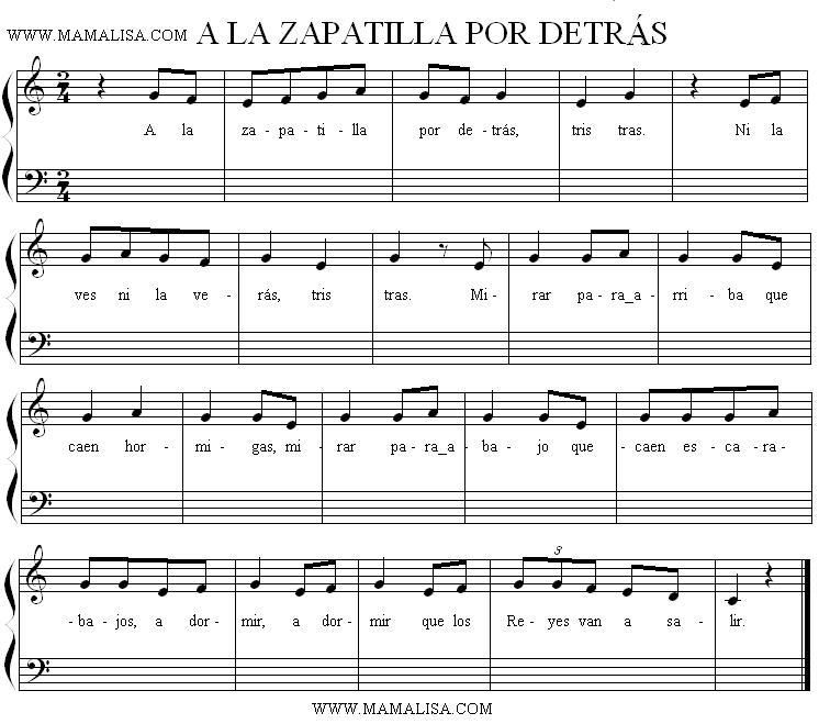 Sheet Music of A la zapatilla por detrás - Canciones infantiles ...