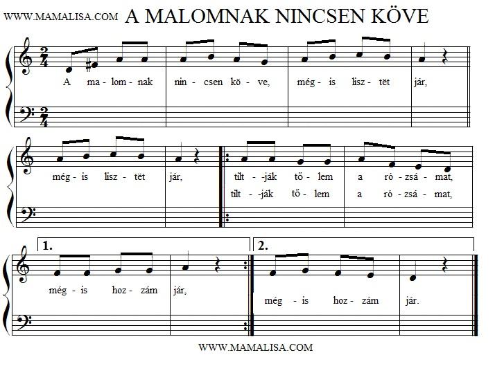 Sheet Music - A malomnak nincsen köve