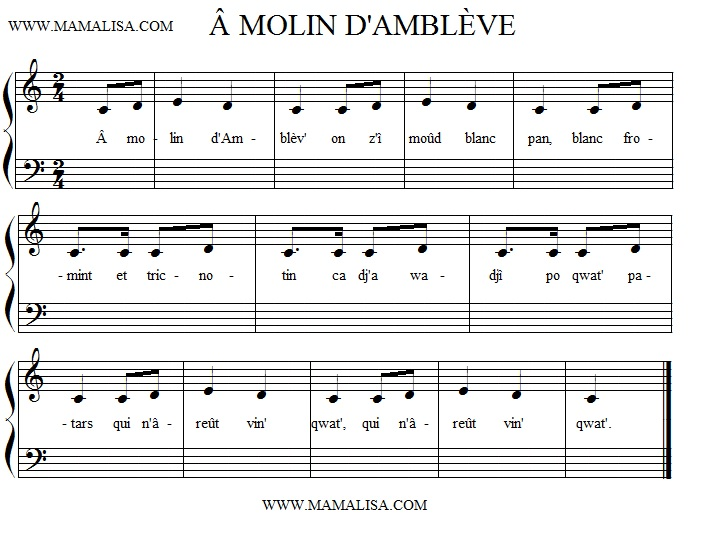 Sheet Music - Â molin d'Amblève