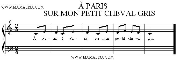 Partition musicale - À Paris sur mon petit cheval gris