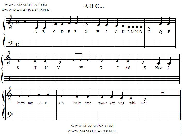 Partition musicale - A, B, C Song