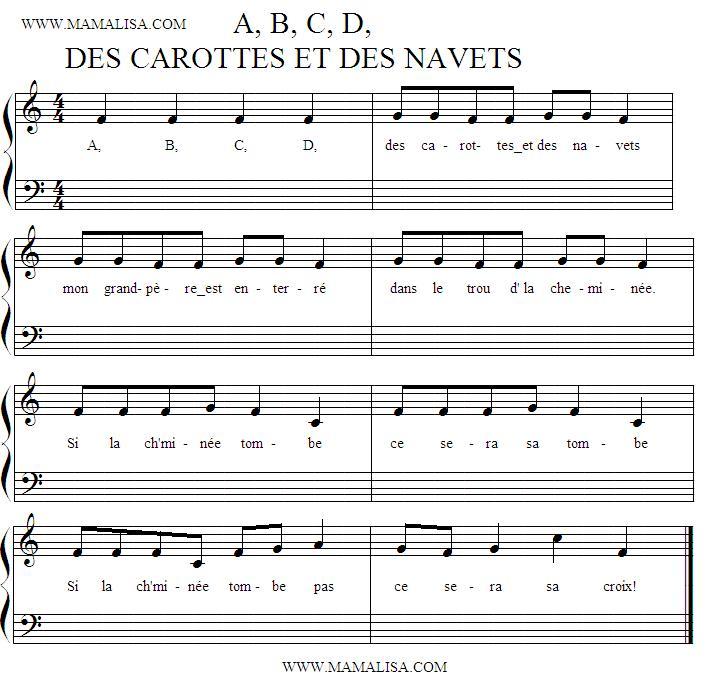 Sheet Music - A B C D, des carottes et des navets