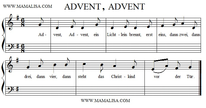Sheet Music - Advent, Advent