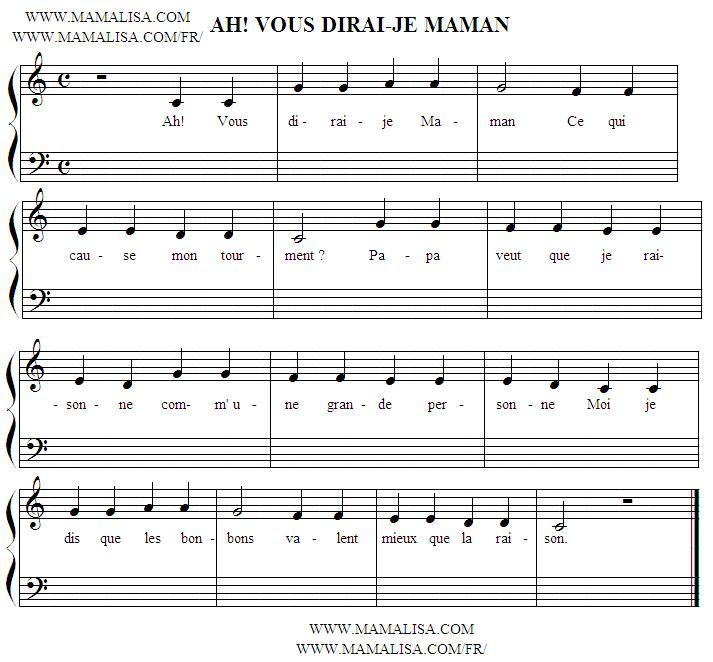Partition musicale - Ah ! Vous dirai-je Maman
