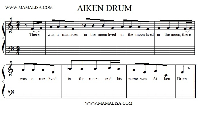 Sheet Music - Aiken Drum