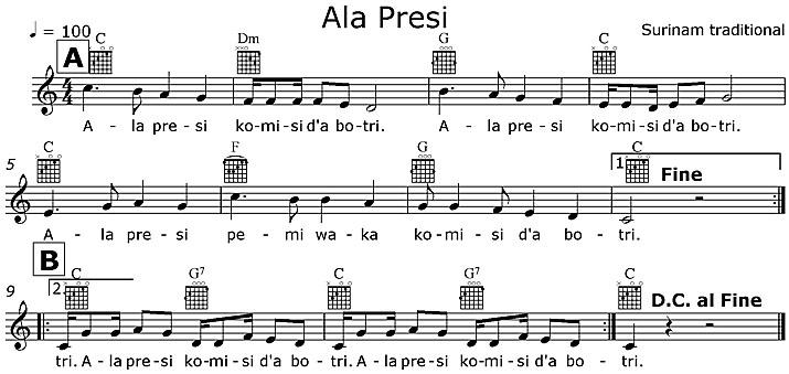 Partition musicale - Ala presi komisi d'a botri