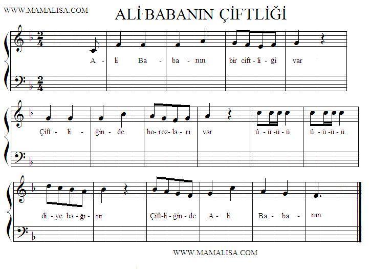 Sheet Music - Ali Babanın çiftliği