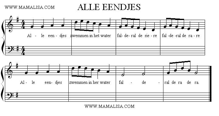 Sheet Music - Alle eendjes