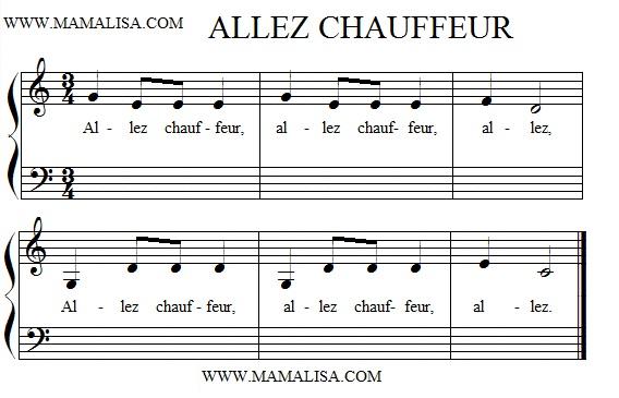 Sheet Music - Allez, chauffeur