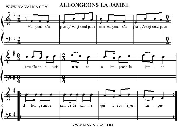 Sheet Music - Allongeons la jambe