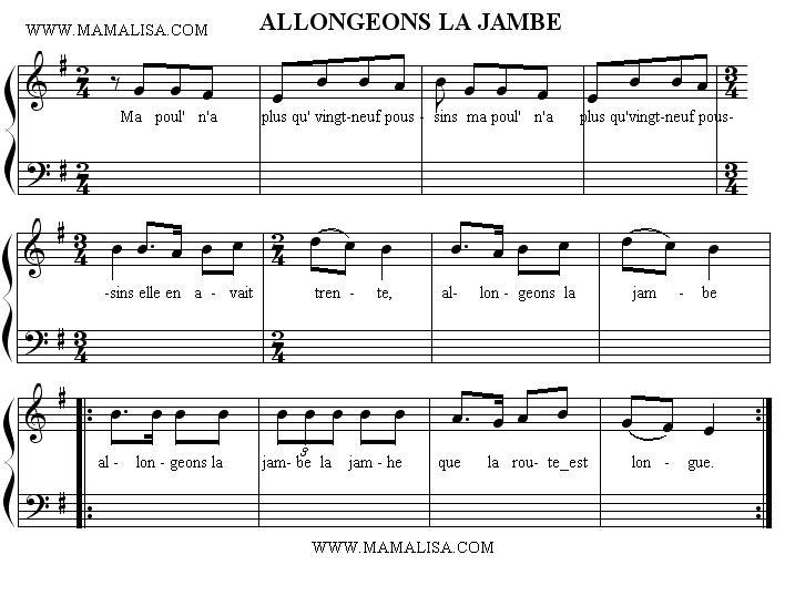 Sheet Music - Allongeons la jambe