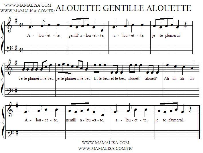 Partition musicale - Alouette, gentille alouette