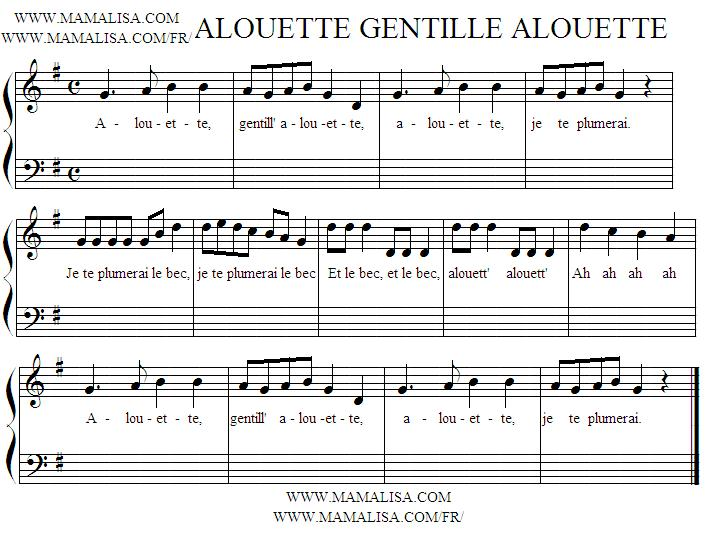 Sheet Music - Alouette, gentille alouette