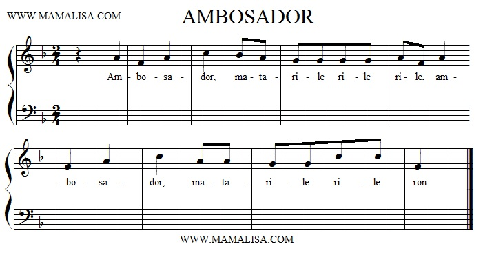 Sheet Music - Ambosador