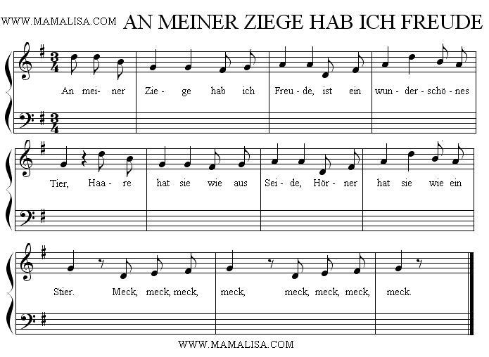 Partition musicale - An meiner Ziege hab ich Freude