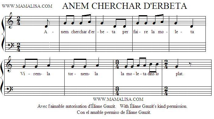 Sheet Music - Anem cherchar d'erbeta