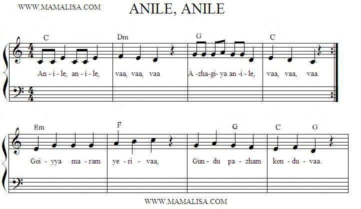 Sheet Music - Anile Anile Vaa Vaa Vaa