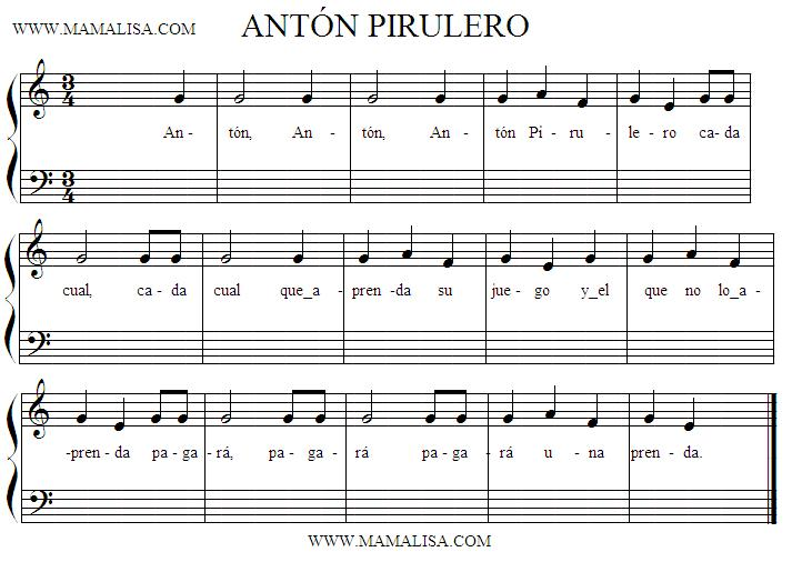 Sheet Music - Antón Pirulero