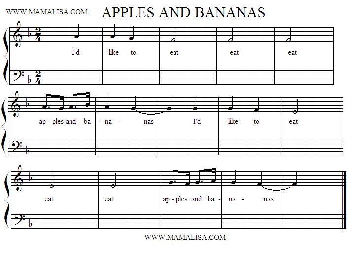 Sheet Music - I Like to Eat Apples and Bananas
