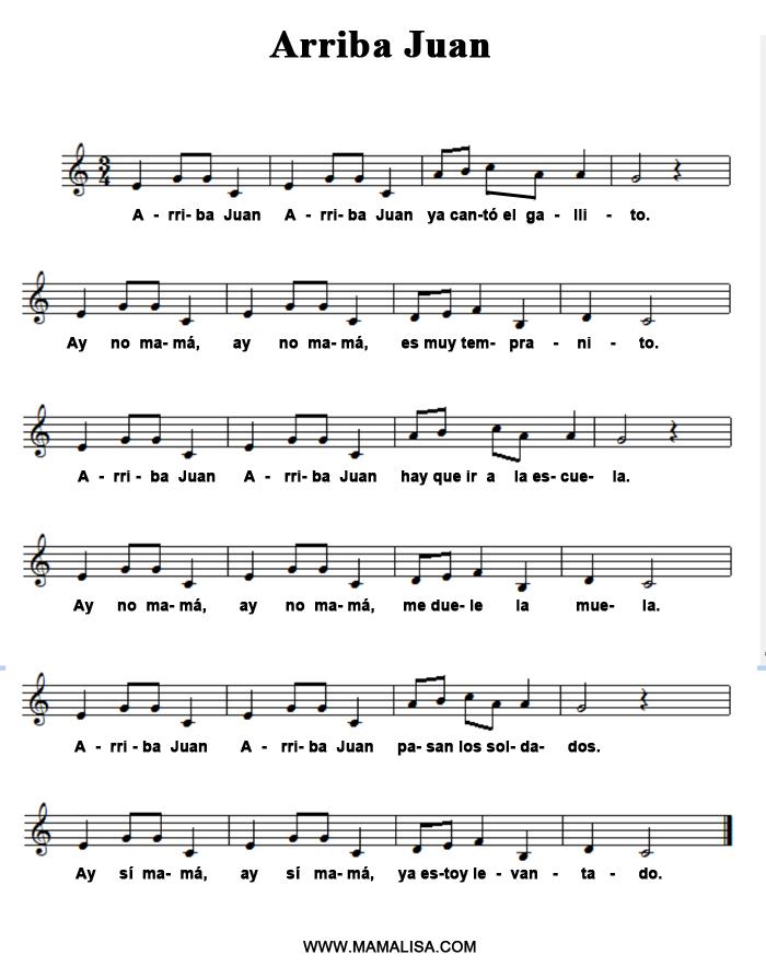 Partition musicale - Arriba Juan