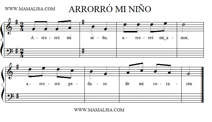 Sheet Music - Arrorró mi niño