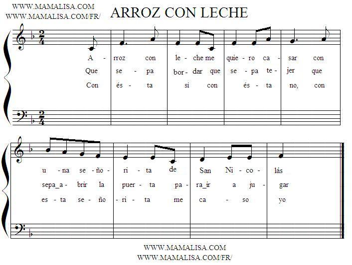 Sheet Music of Arroz con leche 2 - Argentinean Children's Songs - Argentina - Mama Lisa's World: Children's Songs and Rhymes from Around the World