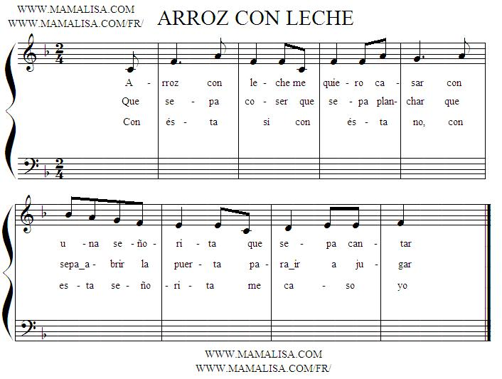 Sheet Music - Arroz con leche
