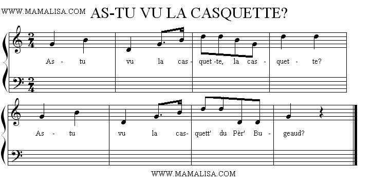 Sheet Music - As-tu vu la casquette ?