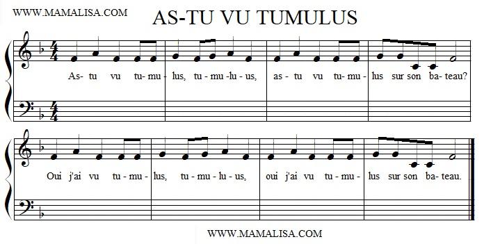 Partition musicale - As-tu vu Tumulus