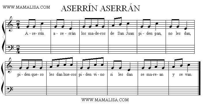Partition musicale - Aserrín, aserrán