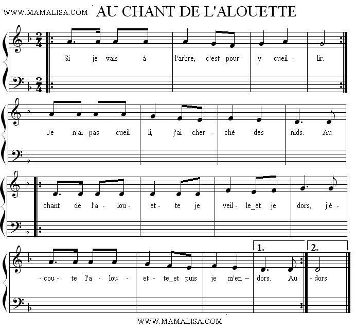 Sheet Music - Au chant de l'alouette