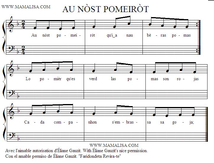 Sheet Music - Au nòst pomeiròt