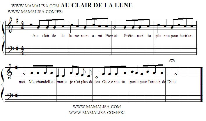 Sheet Music - Au clair de la lune