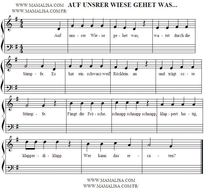 Partition musicale - Auf unsrer Wiese gehet was…