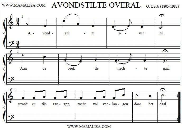 Sheet Music - Avondstilte overal